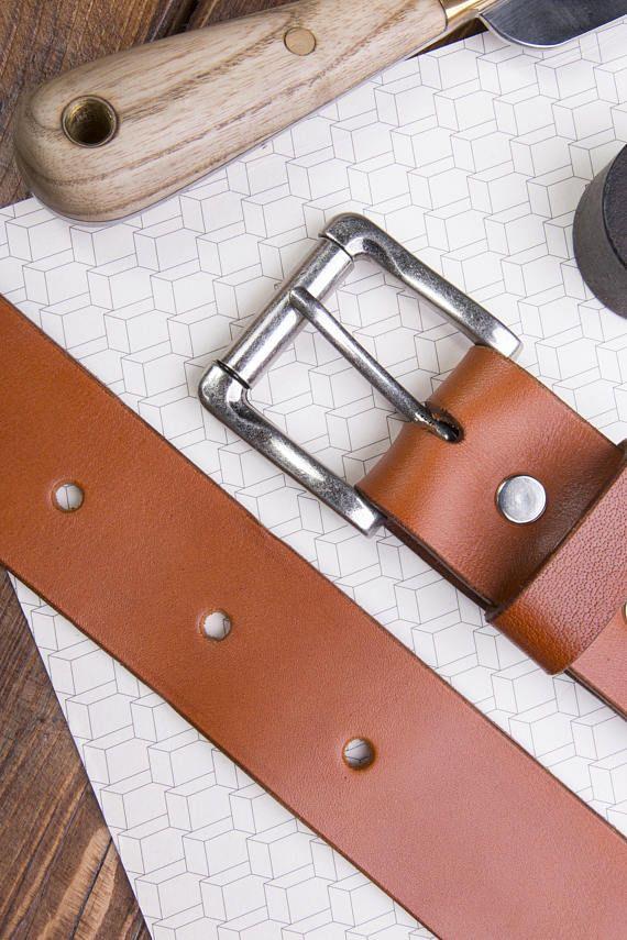 Cognac Leather Jeans Belt 1.5 wide belt Vintage style