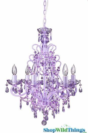"""Sweet Pea"" Purple Decadent Hanging Chandelier 21"" x 21"" x 25"" - 6 Bulbs"
