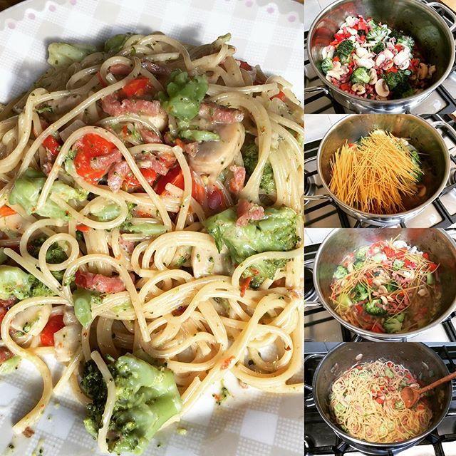 Romige eenpanspasta met broccoli champignons en ham! eenpanspasta campingrecept comingsoonhellip