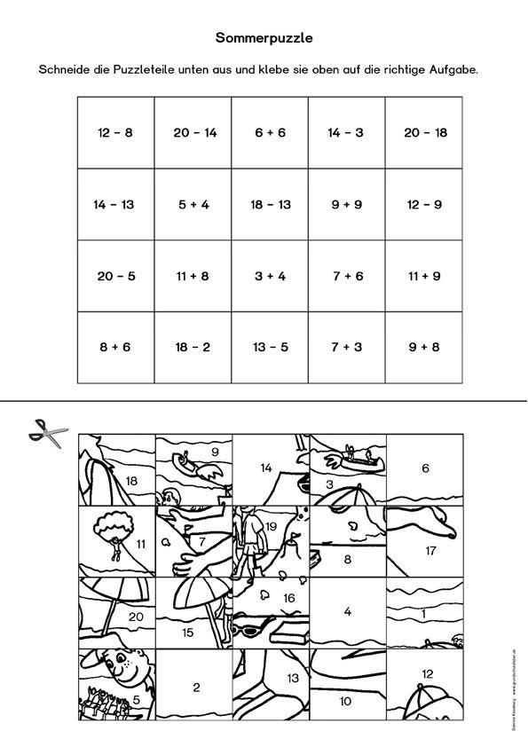 kostenloses arbeitsblatt f r den mathematikunterricht in klasse 1 f r den sommer pinterest. Black Bedroom Furniture Sets. Home Design Ideas