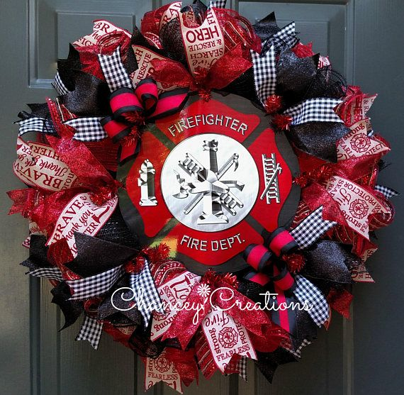 Firefighter Gift, Firefighter Deco Mesh Wreath, Firefighter Wreath, Fireman Door Wreath, Thin Red Line Wreath I am happy to finally get these Heroes represented in my Shop. I wanted to recognize and thank Firefighters for their courage and commitment. Thank them for seeing and doing things I could never do and because of them will never have to. THANK YOU!! The community sleeps well knowing you will always answer the call. This tribute wreath is constructed on a wire wreath frame with…