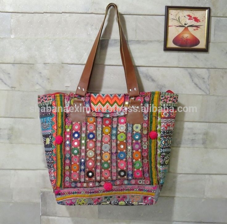 Check out this product on Alibaba.com APP Patch work Tote Bag with Pompom Heavy strap Hobo Shoulder Bag Ethnic Handbag