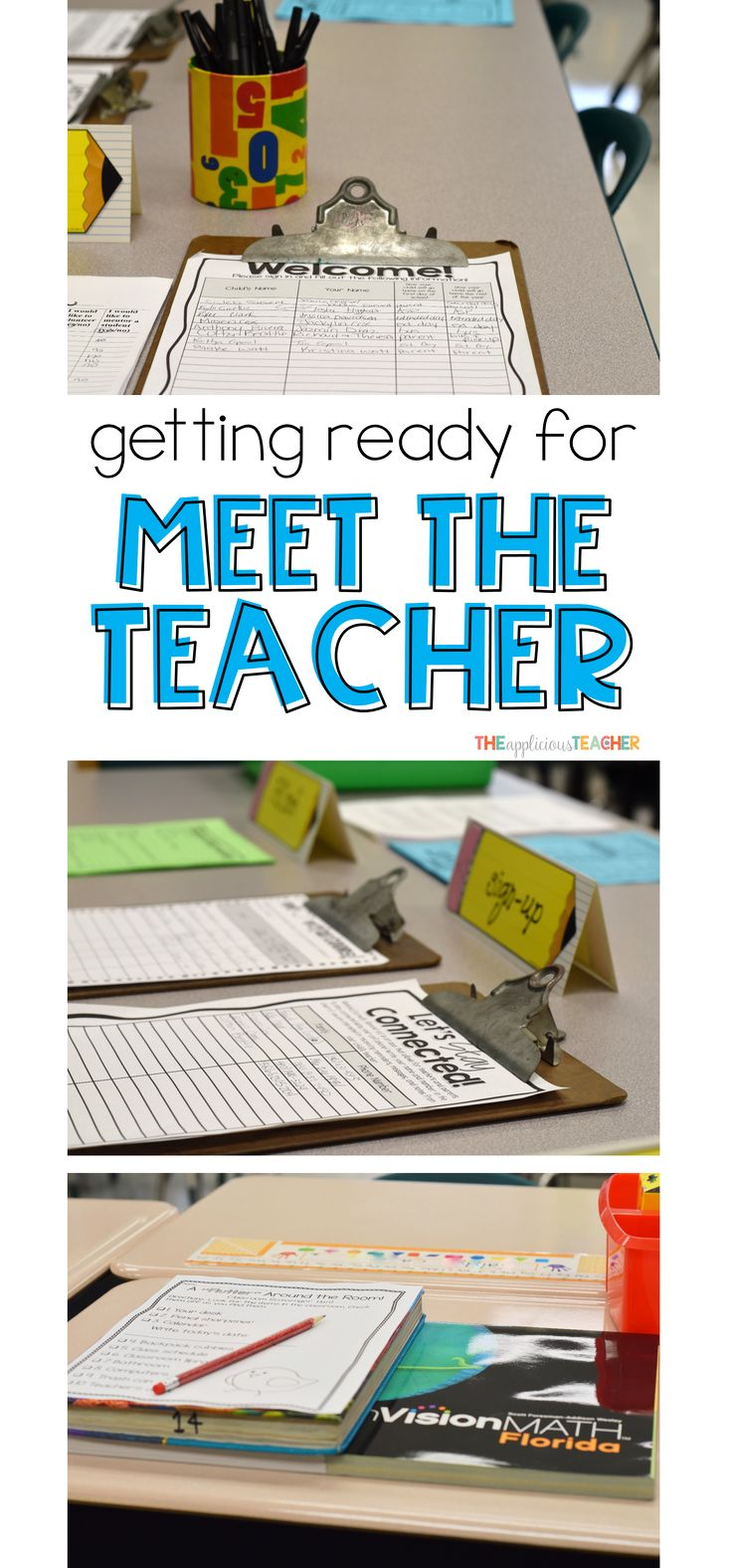Perfect for back to school. Everything you need to know about setting up for Meet the Teacher- forms, what to have on the student desks, and even a little gift for your students.