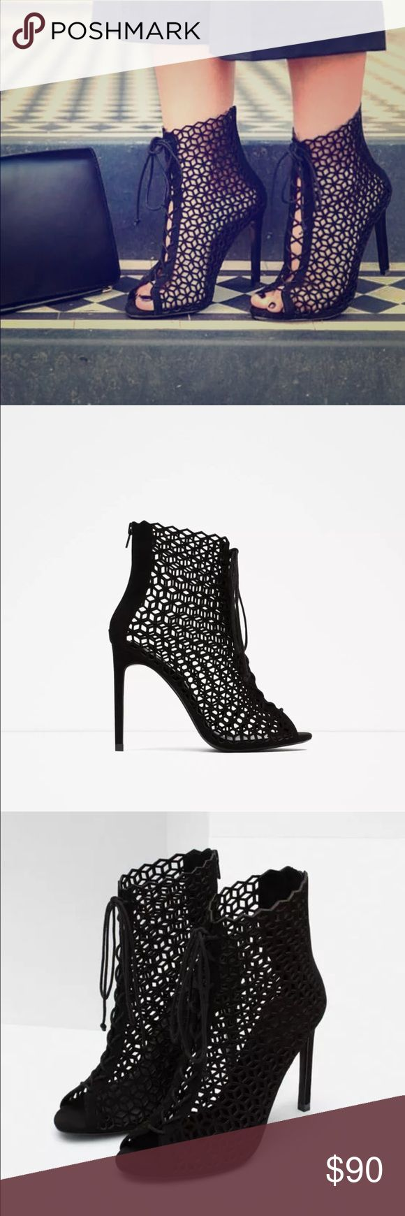 SALE!! ZARA CUT WORK HIGH-HEELED SANDAL SIZE 6 LEATHER HIGH HEEL SANDALS WITH LACES Black high heel leather sandals. Perforated details and laces on the instep. Back zip closure. Heel height 4 inches Zara Shoes Ankle Boots & Booties