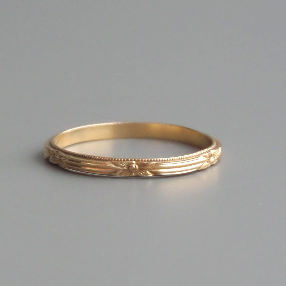 Art Deco Eternity Ring. 14k Gold. Wedding Band. by pinguim on Etsy