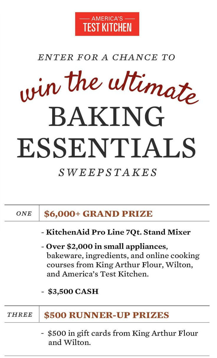 Enter Americas Test Kitchen's Ultimate Baking Essentials Sweepstakes for a chance to win a $6,000 baking essentials prize package http://sweeps.americastestkitchen.com/ubesweeps2016