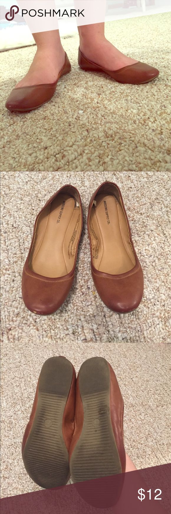 Brown/Camel ballet flats A staple for any wardrobe; these brown ballet flats can be worn with anything! They're perfect for work or just casual lunches with friends. Mossimo Supply Co. Shoes Flats & Loafers