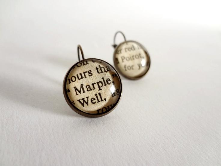 Agatha Christie earrings Marple and Poirot drop by bookity on Etsy: Agatha Christy, Marple Earrings, Christy Marple, Marple Poirot Earrings Utt, Christy Earrings, Earrings Marple, Books Earrings, Earrings Agatha, Agatha Christie