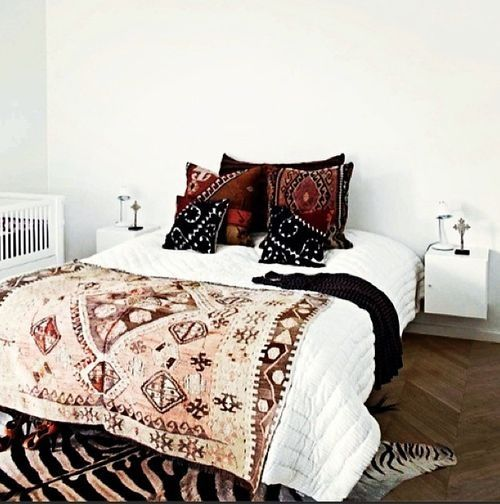 Zebra Rug & Boho Bedding