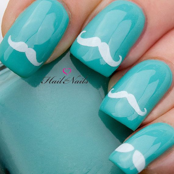 36 Moustache White Nail Art Water Transfers Decals by Hailthenails, £1.99