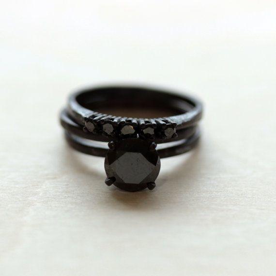 23 CTW Black Diamond Wedding Ring Set in by TheFlyingFoxArts, $625.00