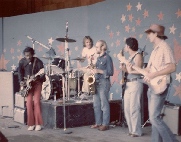 Playing with Chuck Berry -- (l-r) Chuck, Mike Moore (drums), Peter Gordon (sax), Bruce Lopez (bass), Robbie Birsinger (guitar). (Larry and his piano are hidden off to the left... probably by Chuck's choice.)