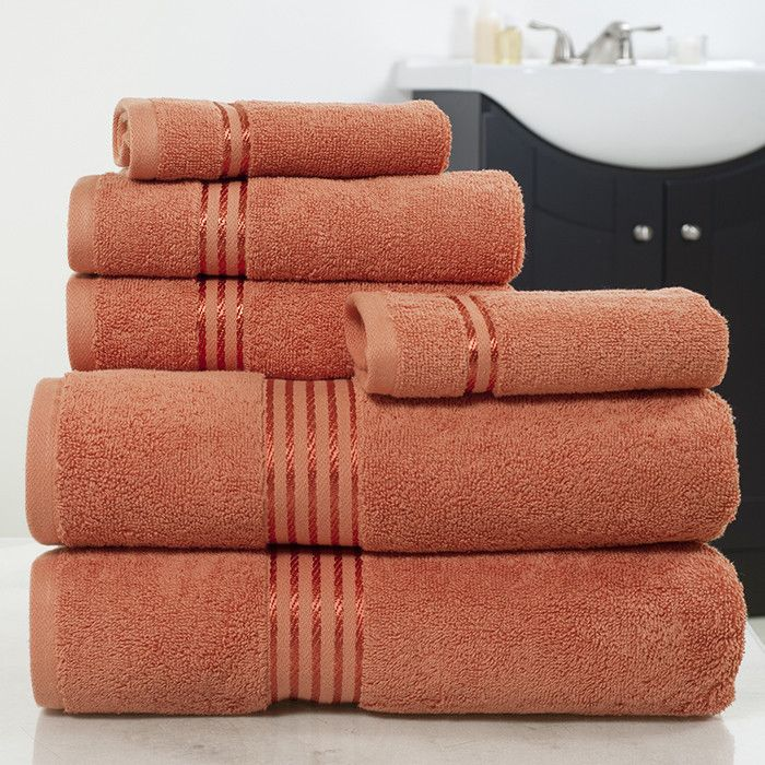 Lavish Home 100% Cotton Hotel 6 Piece Towel Set - Brick