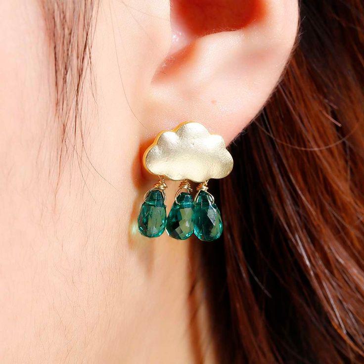 DoreenBeads Summer Cloud Stud Earrings Acrylic Beads Bohemia Trendy Style 20x15mm 1 Pair