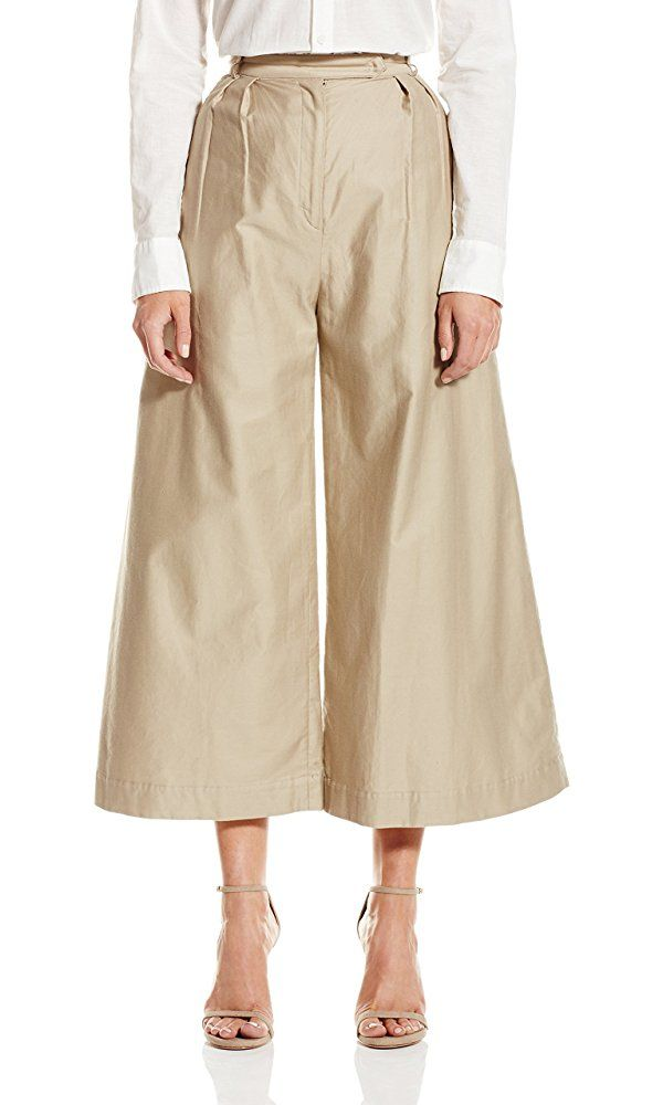 CADET Clothing Women's Wide Leg Crop Trouser, Khaki, 2 Best Price