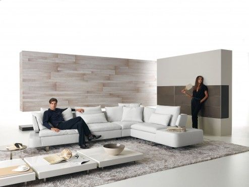 Furniture, Cool Ikea Modern Minimalist Living Room Furniture Sets By L Shape White Leather Sectional Sofa And Low Profile White Square Coffee Table On Light Brown Scheme Rug On White Epoxy Concrete Flooring Near Awesome Nice Freestanding Room Separator Design Ideas ~ Neoteric Living Room Sets IKEA for Great Room Elegance