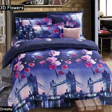 4pcs 3D Plum Blossom Bridge Reactive Dyeing Polyester Fiber Bedding Sets Queen King Size Duvet Cover