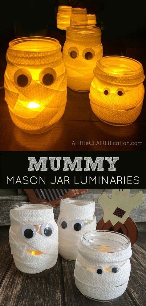 Mummy Mason Jar Luminaries - Cutest and Easiest Halloween Crafts Ever