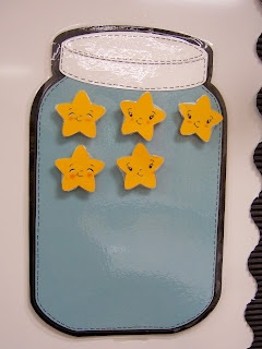 Each time we get a compliment for walking in a nice life, or doing a great job in specials class etc they earn a star.  When they reach 15 stars, we will have a small celebration (early recess, puzzle time, computer lab time)