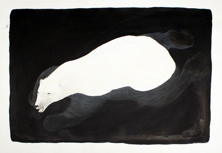 Tim Pitsiulak - Swimming Bear 29.5 x 41.5 Coloured pencil & ink on paper (2016)