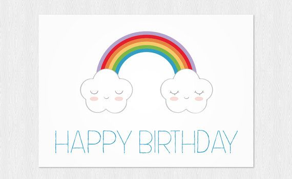 PDF DIY  Greeting card Happy Birthday  Clouds and by Cloudreams