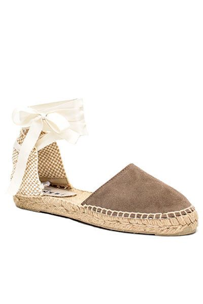 - Jute platform - Suede cap toe; Canvas back - Ribbon ankle ties - Color: Taupe