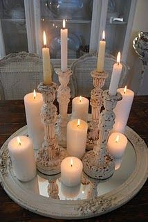 Christmas or anytime. Candles reflect on a round mirror base.