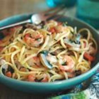 Shrimp and Mushroom Linguine with Creamy Cheese Herb Sauce - This recipe