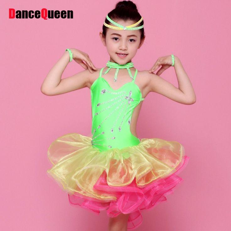 >> Click to Buy << Latin Dance Dress Children Green/Rose/Yellow Girls Dance Dress For Cha Cha/Rumba/Samba/Ballroom Vestido De Baile Latino JDQ4050 #Affiliate