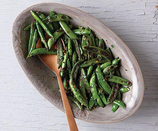 Blackened Sugar Snap Peas with Garlic and Mint Recipe