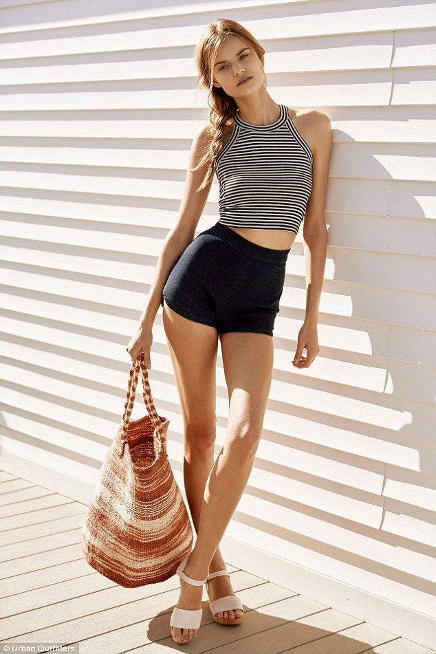 Kate Grigorieva, modelling above for Urban Outfitters, has a 24 inch waist and a waist-to-height ratio of 0.34