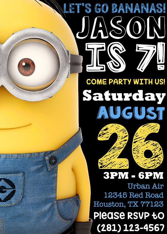 minion birthday invitation invite party minions movie despicable me