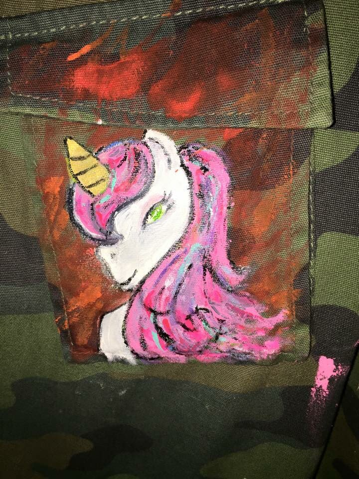 I started this jacket because of this... I love unicorns and since last year they've been popping up on me increasingly more than usual-- they mean more than I thought they would as an adult so I put one on my favorite jacket to represent