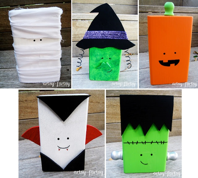 artsy-fartsy mama: Halloween Character Blocks  I want to make all of these little guys.  They are too cute.