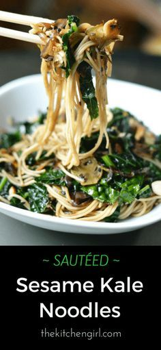 Healthy pasta dinner in 20 minutes! Sautéed Sesame Kale Noodles on thekitchengirl.com #vegan #vegannoodles #easydinnerrecipe #asiannoodles #asianrecipe #glutenfreefriendly
