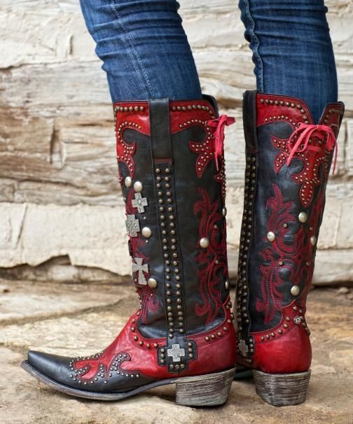 western boots for women | western boots in red! I also pinned the blue!!! Who has done this magnificent work?'