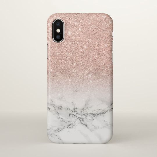 Modern faux rose pink glitter ombre white marble iPhone case | Zazzle.com