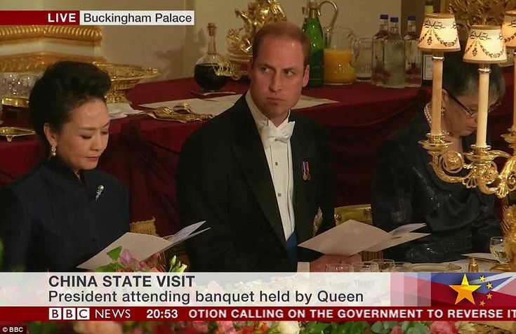 Prince William was seated beside President Xi's wife Madame Peng at the sit-down meal earlier this evening, held in the palace's ballroom