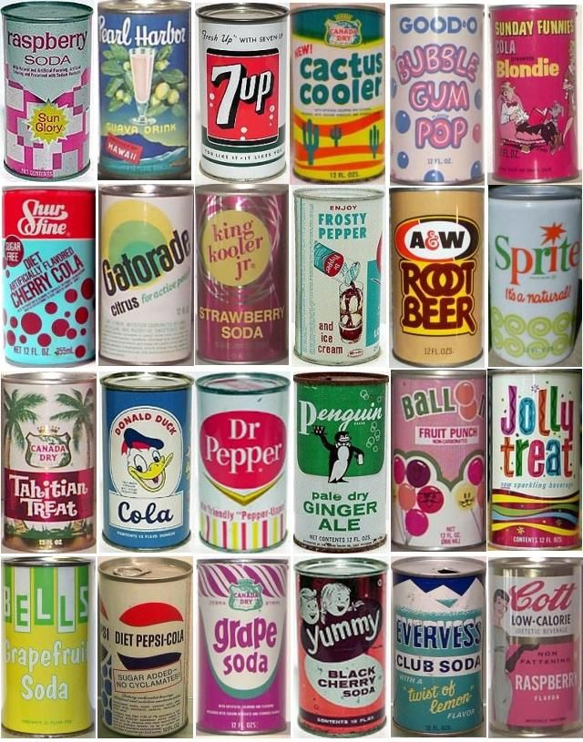 Retro Soda cans produced between 1930's to 1970's #vintage # Lisa had a collection of pop cans in the 70's :)