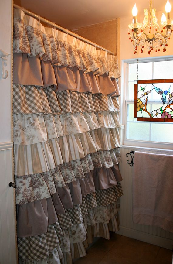 Ruffled Shower curtain, layers of drapery fabrics in a beautiful combination of ivory and tan tones.