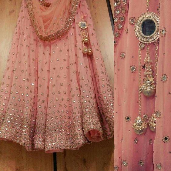 Pink mirror lehengha: