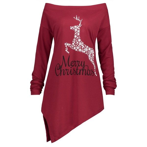Red 5xl Christmas Snowflake Elk Asymmetrical Plus Size Tee ($13) ❤ liked on Polyvore featuring tops, t-shirts, plus size asymmetrical tops, women's plus size graphic tees, red top, plus size womens tees and red plus size tops