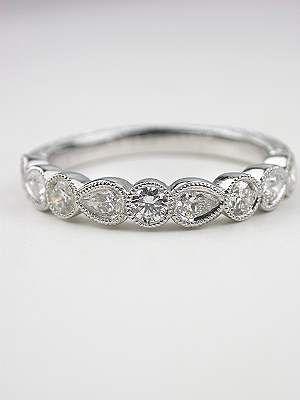 antique wedding bands with diamonds   Antique Style Wedding Band with Pear Brilliant Cut Diamonds, RG-3322a