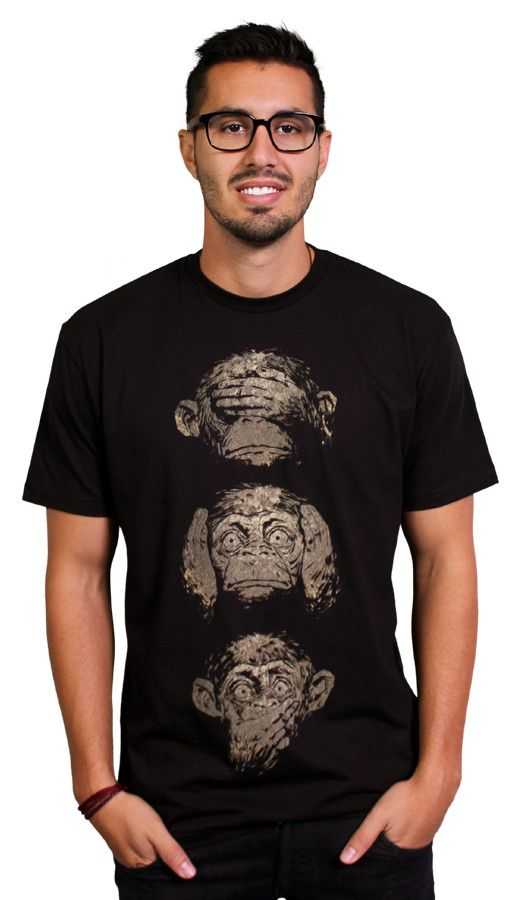3 wise monkeys Laugh all the way to the jungle in this awesome monkey T-shirt. See no evil, speak no evil and hear no evil in this hilarious tee. Monkeys pop off this black shirt, we are not monkeying around when we say this one is a popular choice. Get one before all your friends laugh at you for missing out!   $20