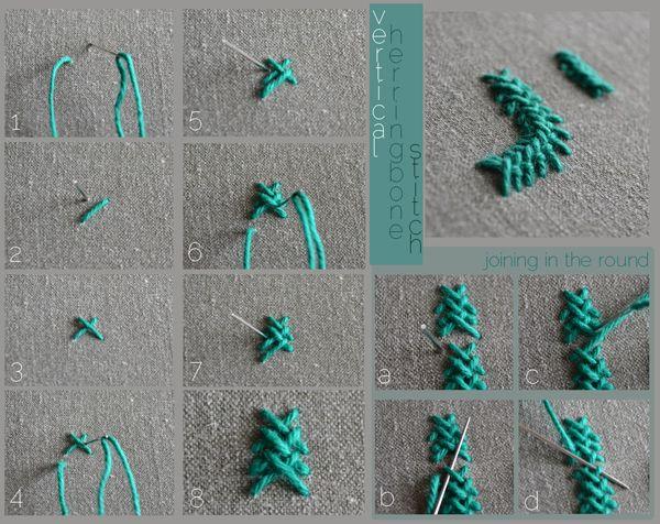 Tutorial: vertical herringbone stitch - easy step by step examples.