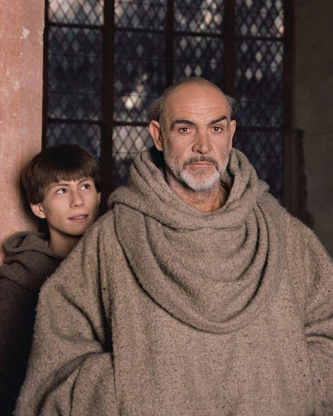 Sean Connery And Christian Slater During Filming Of The Name Of The Rose 1986