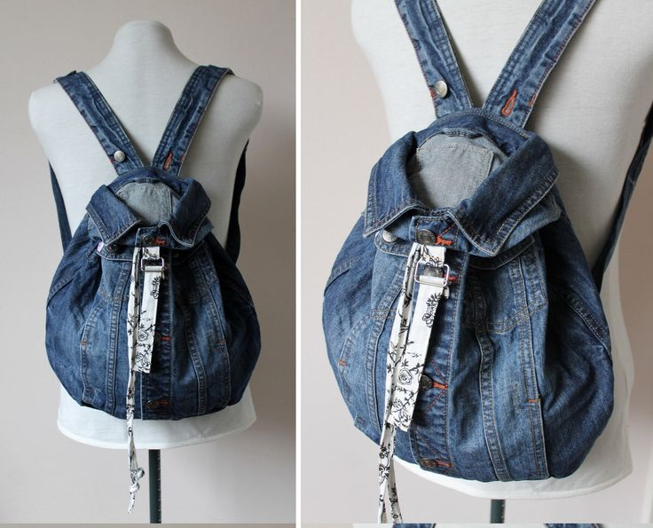Repurposed upcycled recycled blue denim backpack rugzak with black white floral lining by Knapzakclothing on Etsy https://www.etsy.com/listing/267206164/repurposed-upcycled-recycled-blue-denim