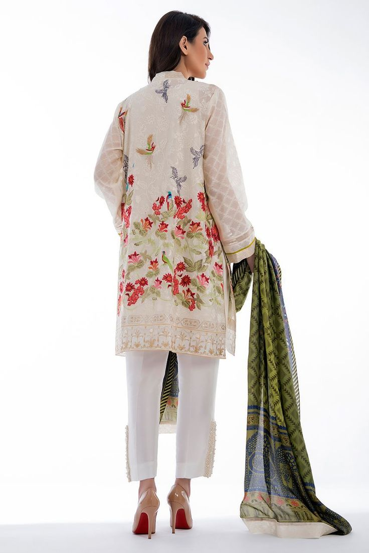 Picture of Cotton net floral embroidered shirt