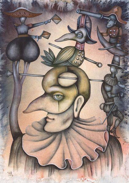 Man In Mask by Eugene Ivanov, watercolor on paper, 29 X 41 cm, SOLD. #eugeneivanov #@eugene_1_ivanov #modern #original #oil #watercolor #painting #sale #art_for_sale #original_art_for_sale #modern_art_for_sale #canvas_art_for_sale #art_for_sale_artworks #art_for_sale_water_colors #art_for_sale_artist #art_for_sale_eugene_ivanov