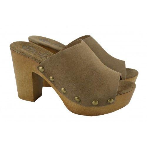 Zuecos serraje madera MARLOS FEELINGS   Zapatos Online   Calzado Mujer